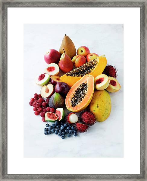 Variety Of Fresh Fruits Framed Print