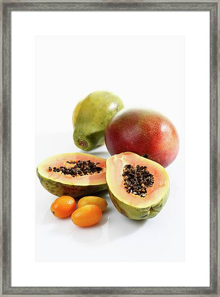 Variety Of Fruits On White Background Framed Print
