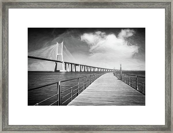 Vasco Da Gama Bridge Lisbon Portugal Black And White  Framed Print
