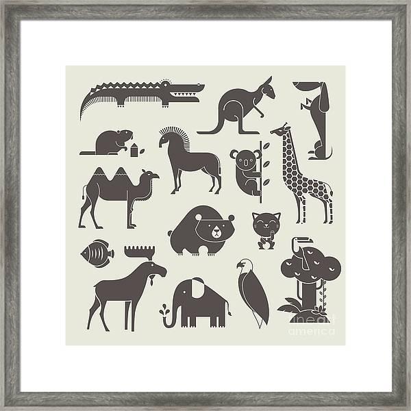 Vector Animals Set Framed Print