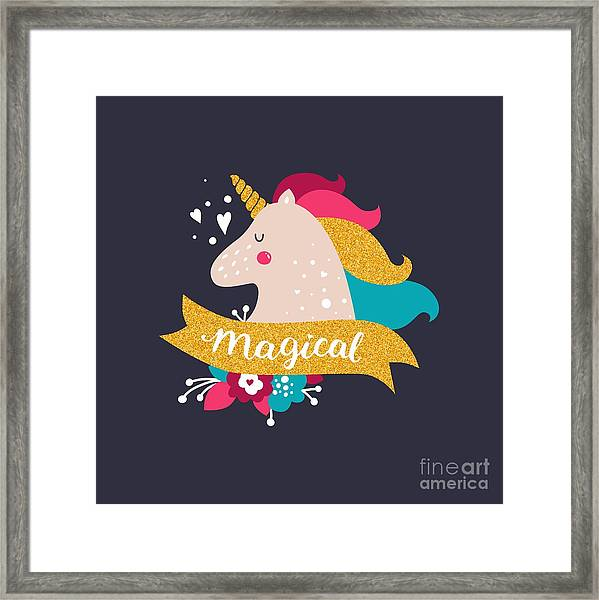 Vector Baby Unicorn With Glitter. Kids Framed Print