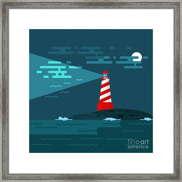 Vector Background With Lighthouse, Sea Framed Print
