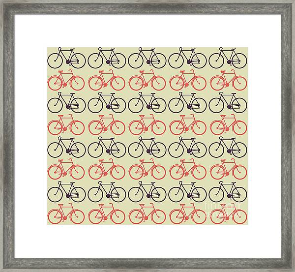 Vector Bicycle Pattern Framed Print