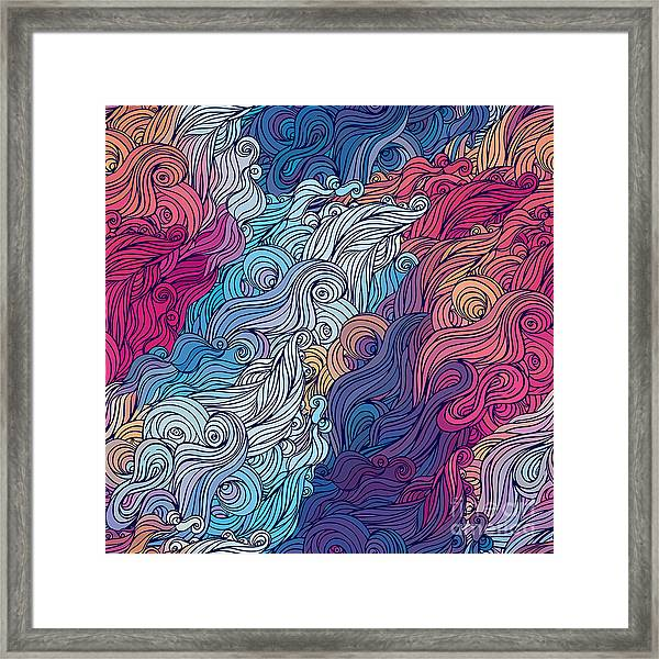 Vector Color Abstract Hand-drawn Hair Framed Print