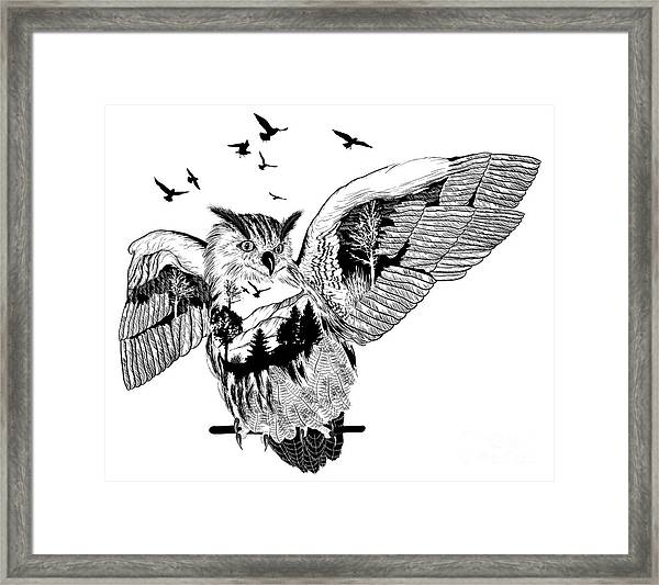 Vector Double Exposure, Owl For Your Framed Print