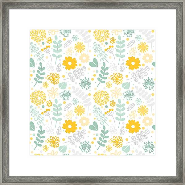 Vector Floral Pattern In Doodle Style Framed Print
