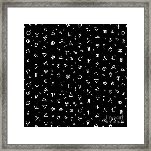Vector Geometric Pattern With Alchemy Framed Print