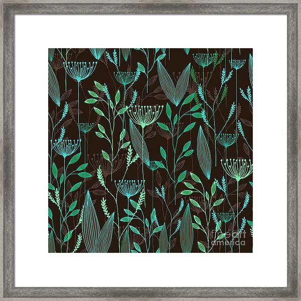 Vector Grass Seamless Pattern Framed Print