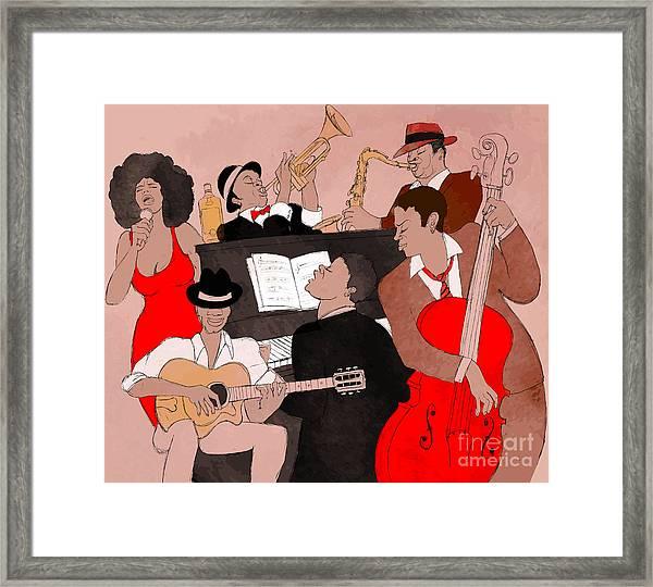 Vector Illustration Of A Jazz Band Framed Print