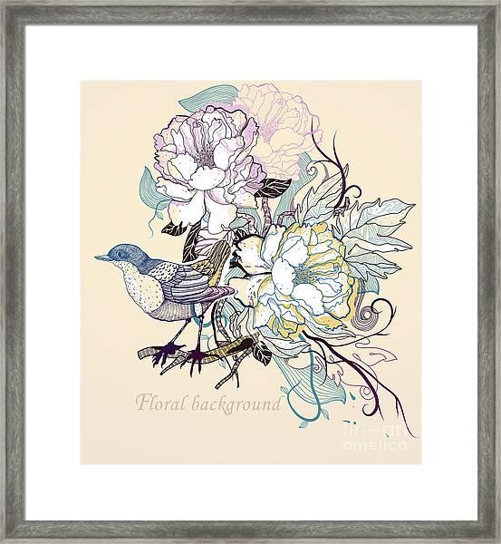 Vector Illustration Of A Little Bird Framed Print