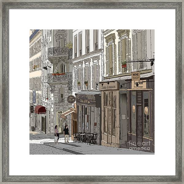 Vector Illustration Of A Street In Framed Print