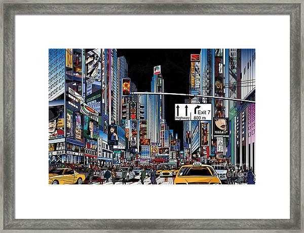 Vector Illustration Of A Street In New Framed Print