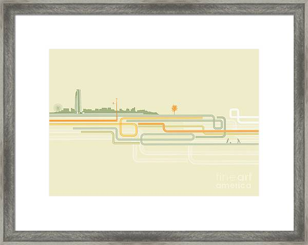 Vector Illustration Of Color Lines With Framed Print