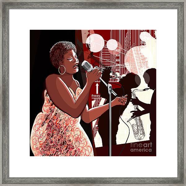 Vector Illustration Of Singer On Grunge Framed Print