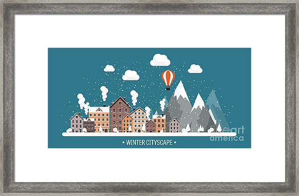 Vector Illustration. Winter Urban Framed Print