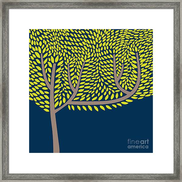 Vector Illustration With Abstract Tree Framed Print