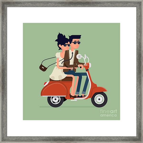 Vector Modern Icon On Hipster Young Man Framed Print