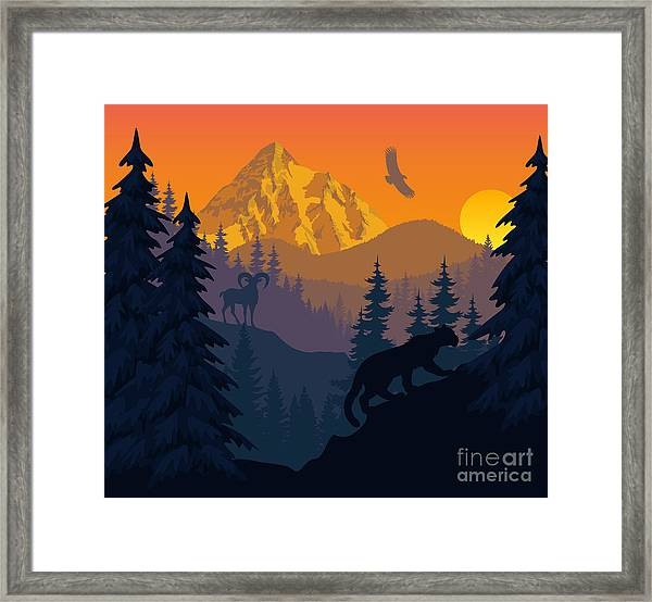 Vector Mountains Evening Landscape With Framed Print