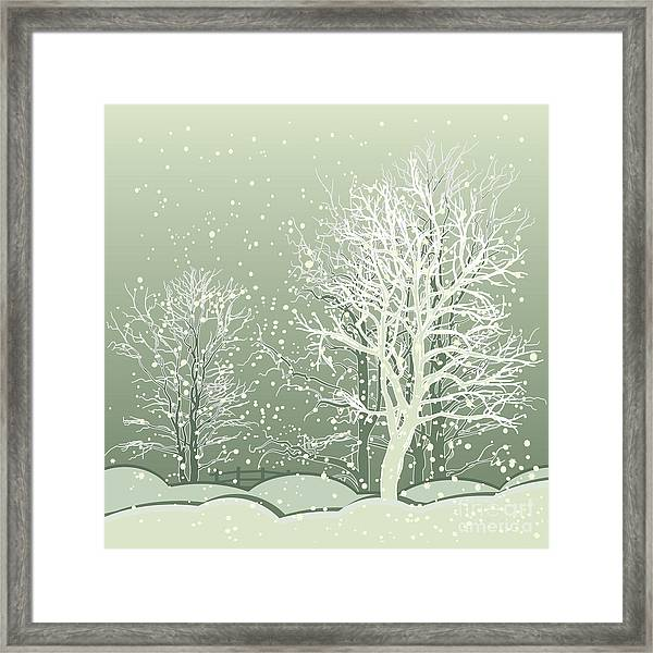 Vector Of Winter Scene With Forest Framed Print