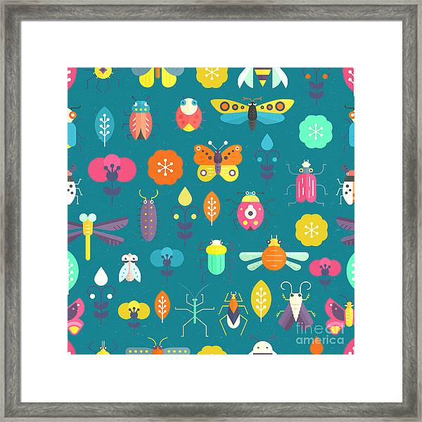 Vector Seamless Geometric Pattern With Framed Print