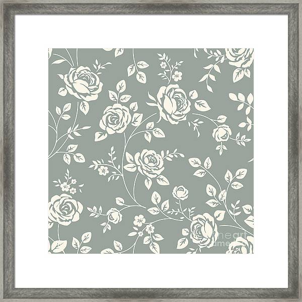Vector Seamless Pattern With Flowers Framed Print