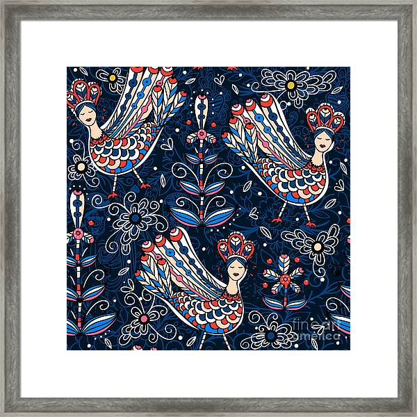 Vector  Seamless Pattern With Folk Framed Print