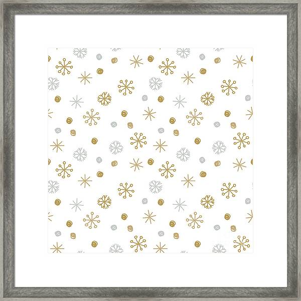 Vector Seamless Winter Pattern Framed Print