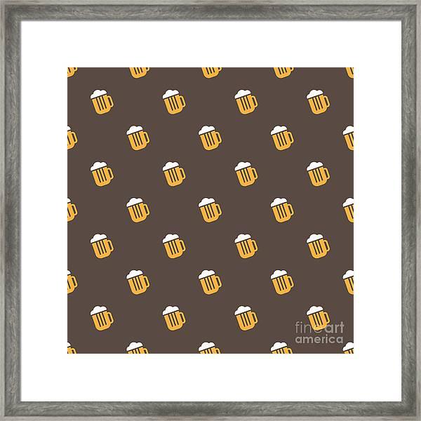 Vector Simple Bright Beer Mug Seamless Framed Print