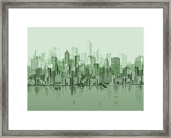 Vector Sketch Of The A Cityscape In Framed Print