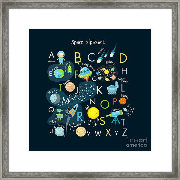 Vector Space Alphabet Framed Print