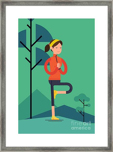 Vector Sport Young Woman Character Framed Print