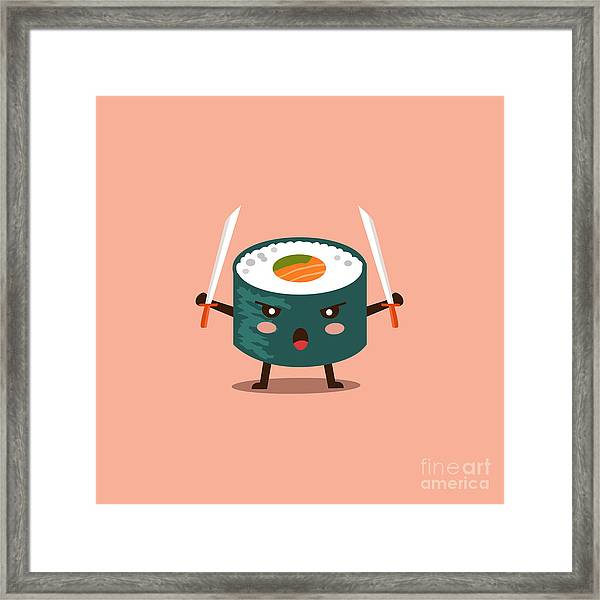 Vector Sushi Cartoon Character Framed Print