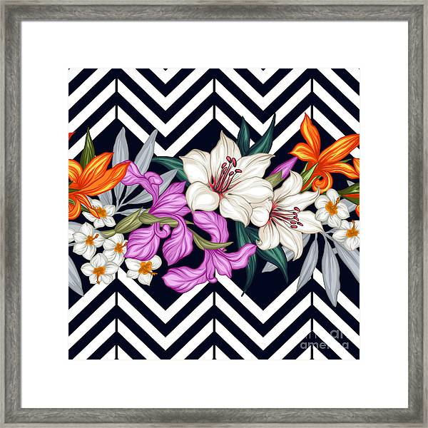 Vector Tropical Leaves And Flowers Framed Print