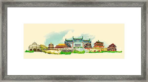 Vector Watercolor Beijing City Framed Print by Trentemoller