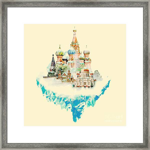 Vector Watercolor Moscow City Framed Print