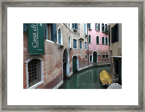 Venetian Streets -canals. Carlo Galdoni Museum Framed Print