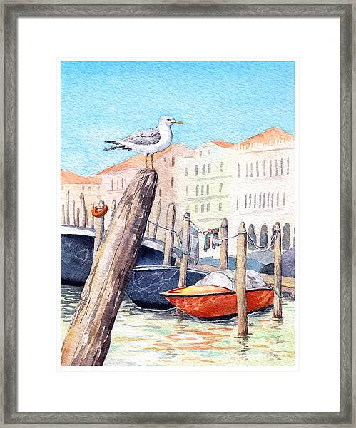 Venice - Boats, Water, Buildings And Framed Print