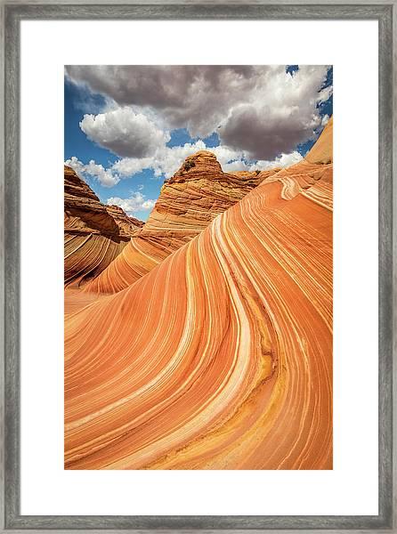 Vertical Golden Wave Framed Print by Johnny Adolphson
