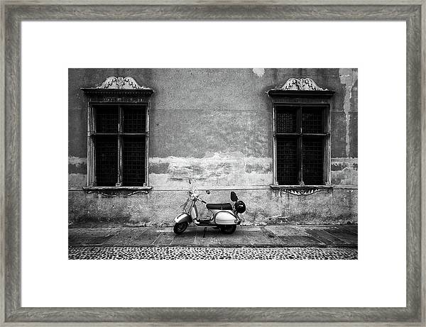 Vespa Piaggio. Black And White Framed Print