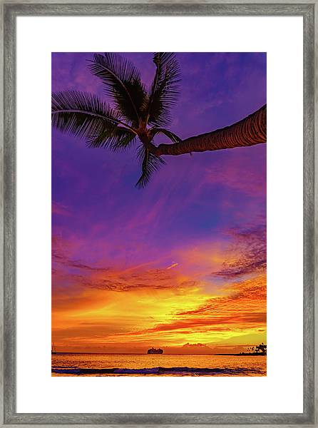 Vibrant Kona Inn Sunset Framed Print