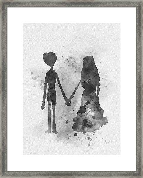 Victor And Emily Black And White Framed Print