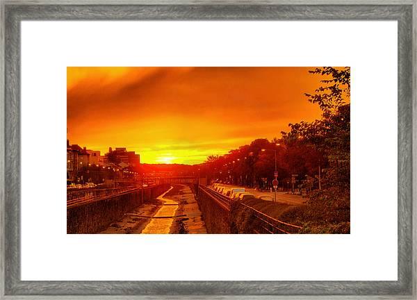 Vienna Bathed In Orange Sunset Light Framed Print
