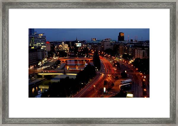 Vienna - City Night Lights Framed Print