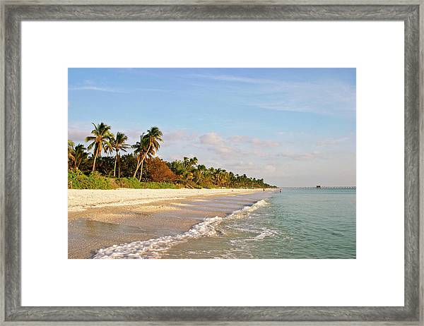View Along Naples Beach From The Sea Framed Print