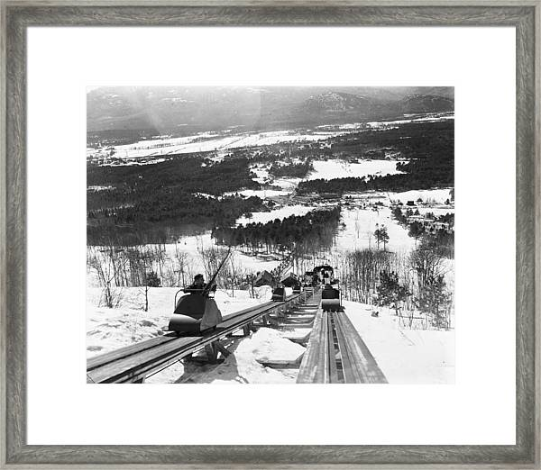 View From The Summit Of Cranmore Framed Print by Bert Morgan