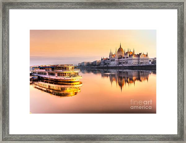 View Of Budapest Parliament At Sunrise Framed Print