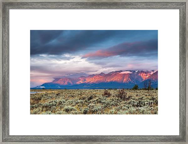 View Of Grand Teton Mountain Range At Framed Print by Victor Maschek
