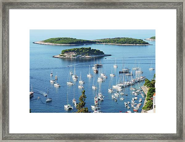 View Of Hvar Harbor From Castle Framed Print