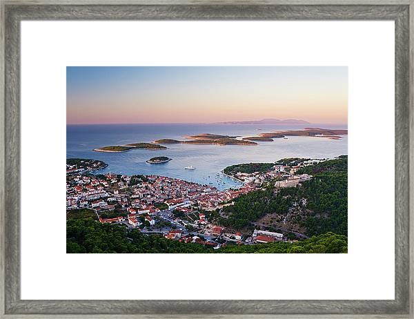 View Of Hvar Town At Dawn Framed Print
