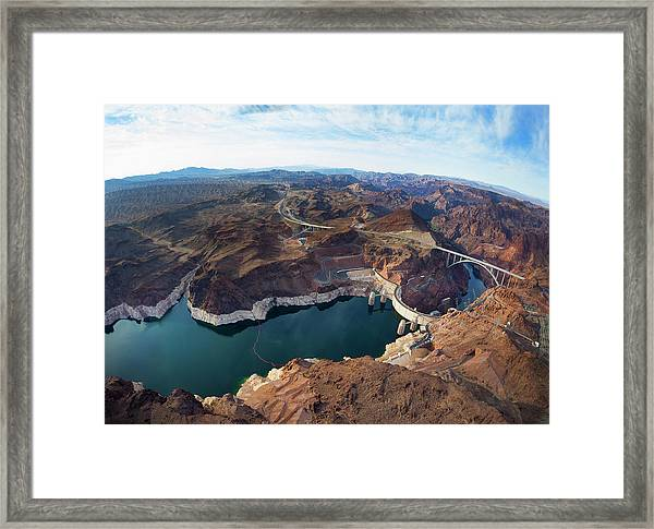 View Of Lake Mead And Hoover Dam Framed Print by Derek E. Rothchild
